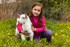 Little Girl Embracing Little Goat On Grass In Garden. Portrait Of Beautiful Happy Little Girl Embracing Little Favorite Goat On Grass In Spring Garden royalty free stock photos