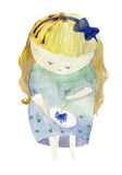 The little girl. Is embroidering a flower.manual schedule.watercolor Royalty Free Stock Image