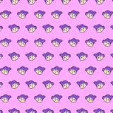 Little girl - emoji pattern 16. Pattern of a emoji little girl that can be used as a background, texture, prints or something else stock illustration
