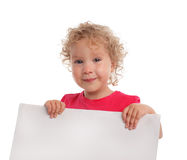 Little girl with empty blank Royalty Free Stock Images