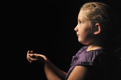 Little girl with empty hands. Royalty Free Stock Images