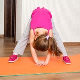 Little girl engaged in fitness Royalty Free Stock Photos