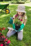 Little girl engaged in gardening Royalty Free Stock Images