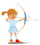 Little girl is engaged in a sports archery Royalty Free Stock Photo