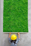 Little girl engineering with painting green grass texture on wall Stock Image