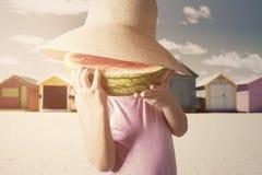 Little Girl Enjoy A Fresh Watermelon Stock Photography