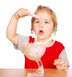 Little girl enjoy in ice cream Royalty Free Stock Images