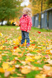 Little girl enjoying beautiful autumn day Royalty Free Stock Image