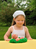 Little girl enjoying Easter time Royalty Free Stock Photos