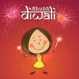 Little girl enjoying Happy Diwali. Stock Photography
