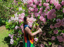 little girl enjoying her leisure time, hugging a blooming tree with pink flowers in botanical garden Stock Photos