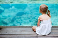 Little girl enjoying sea life Royalty Free Stock Images