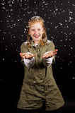 Little girl is enjoying the snow Stock Photography