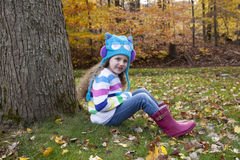 Little Girl Enjoys Autumn Royalty Free Stock Photo