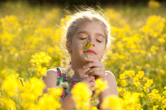 Little girl enjoys the smell of flowers. In the meadow royalty free stock photo
