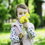 Little girl enjoys the smell of flowers on the yellow field Stock Photo