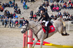 Little girl equestrian horse jump Stock Images