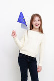 Little girl and european flag Stock Photos