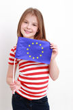 Little girl and european flag Stock Images
