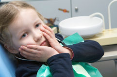 The little girl examined  in the dental clinic Stock Photography