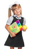 Little girl with exercise books Stock Photography