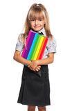 Little girl with exercise books Royalty Free Stock Image