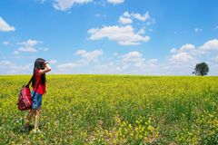 Little girl explores nature. In a summer day stock photo