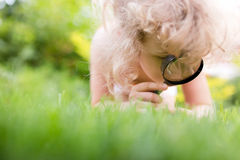 Little girl exploring nature Royalty Free Stock Images