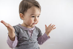 Little girl expressing amazement Royalty Free Stock Photo