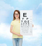 Little girl in eyeglasses with eye checking chart Royalty Free Stock Images
