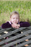 Little girl with eyes closed thinking or imagining Royalty Free Stock Photos
