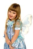 Little girl in a fairy costume. Against white background royalty free stock photo