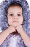 Little girl in fairy costume on white Royalty Free Stock Photos