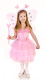 Little girl in fairy costume on a white Royalty Free Stock Images