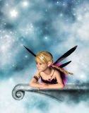 Little girl fairy. A 3D rendered fantasy image of a little girl fairy on a marble slab Stock Photos