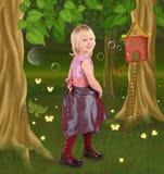 Little girl in fairy tale stock photo