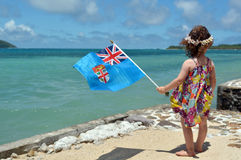 Little girl on family travel holiday vacation in Fiji Royalty Free Stock Images
