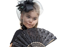 Little girl with a fan Stock Image