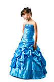 Little girl in fancy dress isolated on white Royalty Free Stock Photo