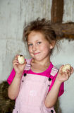 Little girl with farm fresh eggs Royalty Free Stock Image
