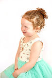 Little Girl Fashion Model in Green Dress Stock Images