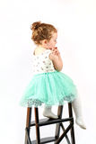Little Girl Fashion Model in Green Dress Royalty Free Stock Photography