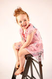 Little Girl Fashion Model in Rose Dress Royalty Free Stock Photography