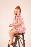 Little Girl Fashion Model in Rose Dress Royalty Free Stock Photo