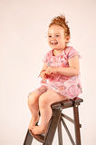 Little Girl Fashion Model in Rose Dress Stock Photography