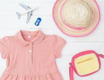 Little girl Fashion traveling objects flat lay summer vacatio Royalty Free Stock Photography