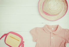 Little girl Fashion traveling objects flat lay summer vacation Stock Photos