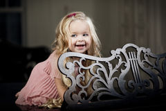 Little girl in a fashionable luxury interior Royalty Free Stock Images