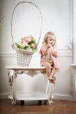 Little girl in a fashionable luxury interior Royalty Free Stock Photo