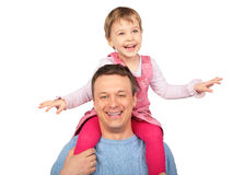 Little girl on father`s shoulders stock image
